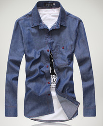 Wholesale 2014 Hot Selling Summer Men Shirts Jeans Slim Plus Size Shirts Turn down Collar Long Sleeve Shirts Colors Size