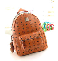 Men mcm backpack - Hot fashion printing women men rivets bags handbag MCM backpack