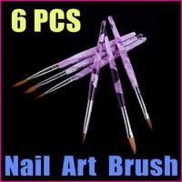 2D Nail Art Brush 6 PCS 5 sets lot 6Pcs Purple Professional Nail Tools UV Gel Acrylic Nail Art Builder Brush Dotting Pen Design, Wholesale