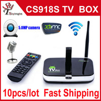 Quad Core Included 720P (HD) Wholesale 10pcs CS918s Android 4.2.2 Smart TV Box Allwinner A31S 2GB 16GB Built in 5.0MP Camera Mic Bluetooth 4.0 RJ45 HDMI Wifi XBMC