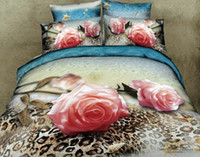 100% Cotton Woven Home pink rose leopard floral lady girl 3d prints duvet quilt cover sheet set queen size bedding set bed linen bedcover sets textile