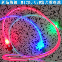 Universal   1M 3FT Visible LED Lighting Up round MICRO USB FLAT Charger cable Sync Data Line Cord for samsung galaxy S4 S3 Android phone