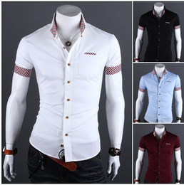 Wholesale 2014 summer Korean fashion High quality New men s shirts short sleeves POLO shirts man men tops upper garments clothing shirt