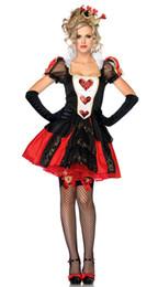 Wholesale Sexy Deluxe Queen of Hearts Women Costume Halloween Fancy Dress Alice in Wonderland