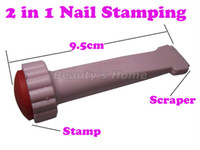Nail Art Stamping Machine Nail Art Equipment Plastic and stainless steel DIY Nail Art Stamping Kit Nail printer,two ends Stamps with scraper Freeshipping 0850