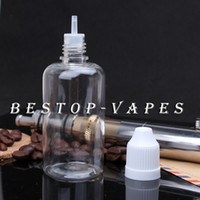 Plastic Yes PET Wholesale 1000pcs Clear PET 50ML Plastic Dropper Tip Bottle With Childproof Cap With Long Thin Tip, E-Juice Needle Tip Bottles