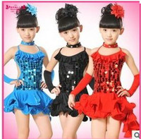 Wholesale New fashion children Latin dance dress dancing skirts sequin costumes stage wear dancing dresses children s Dancewear clothes n hkx001