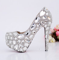 Half Boots Women PU 2014 Fashion Luxury Women Silver Rhinestone 140MM High Heel Platform Evening Dress Prom Wedding Pumps Shoes FREE DROP SHIPPING