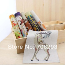 Wholesale Hand dyed Assorted Cotton Linen Printed Quilt Fabric For DIY Sewing Patchwork Home Textile Decor X15cm The girl with deerFor DIY