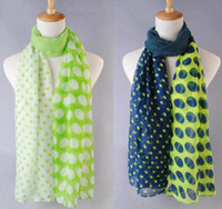 Wholesale 2014 New Woman Scarf Voile Printed Scarves Two Color And Big Dot Pattern Scarfs