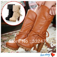 Wholesale 2013 Winter fashion women motorcycle boots medium leg thick heel high heel boots women s plus size leather boots