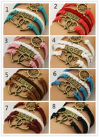 Wholesale 8 Colors For Choose Infinity Bracelets Handmade Anchor Bronze Love Leather Rudder Peach Heart Bracelets Jewelry Bracelet C2194