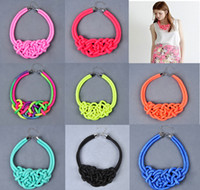 Wholesale Nightclub exaggerated necklace Fluorescent color rope winding short necklace Post neck clavicle necklace Bracelet discount sale ZL