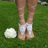 ankle strap sandles - Crochet Barefoot Sandals Beach Pool Nude shoes Foot jewelry Wedding shoes White sandles women Shoes Wedding Shoes