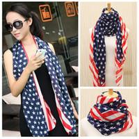 Wholesale Long Scarves For Summer - Women Unisex USA Stars Stripes American Flag Shawl Wrap Pashmina Fashion Elegant all-match ultra Long Chiffon Summer Scarf for women H6030