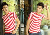 Wholesale 2014 men joker striped shirt with short sleeves