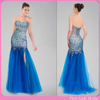 Wholesale Sparkle Prom Dresses Blue Tulle Beaded Crystals Sheath Sweetheart Floor Length Split Side Tony Bowls Evening Gowns