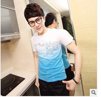 Wholesale 2014 han edition men s letters printing round collar short sleeve T shirt
