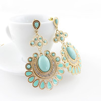 big earrings - Designer Jewelry Gold Color Alloy Colorful Big Imitation Gemstone Flower Dangle Earrings for Women
