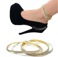 "Trendy Alloy Christmas Day 2014 Free shipping 10 pcs Silver Plated 2 Row Or 1 Row Crystal Anklet Ankle Bracelet 0.27"" HOT [GE09001,GE09002 M*10]"