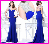 Wholesale 2014 Distinctive Tarik Ediz Royal Blue One Shoulder Beads Floor Length Mermaid Backless Prom Dress Chiffon Evening Gowns