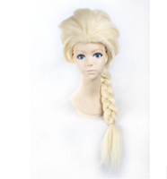 Wholesale Disney Movies Frozen Snow Queen Elsa Weaving Braid Cosplay Wig Frozen most popular cartoon girl Elsa Hair Wig DHL Free