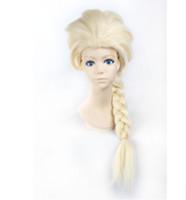 Wholesale Disney Movies Frozen Snow Queen Elsa Weaving Braid Cosplay Wig Frozen most popular cartoon girl Elsa Hair Wig DHL Free