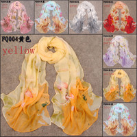 Wholesale Georgette scarves new fashion long seasons chiffon scarves women foulard imitated silk fabric shawls scarf for sale