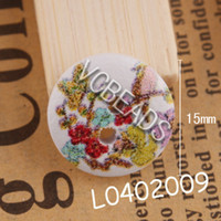 Wholesale Fashion Flower Printed Wooden Buttons Floral Painting Wood Round fit Clothes Accessories Sewing Embroidered or DIY Craft Scrapbook