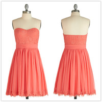 Wholesale 2014 Hot Sale Short Coral Style Bridemaid Dresses Backless Lace Bridesmaid Gowns real Images Actual Photos B