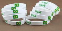Charm Bracelets american cup soccer - 2014 World Cup soccer fans wristband bracelet strap Brazil fans Brazilian flag silicone bracelet hand ring