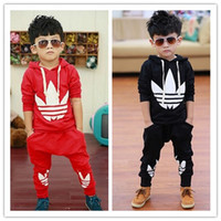 Wholesale 2014 New Fashion Casual Sport Suits Tracksuits For Kids Long Sleeve Leisure Outwear Boys Clothing Sets Girls Set Outfit Sets Red Black C2225