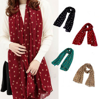 Wholesale Ladies Scarfs Designers Big Size BRAND Fashion Style Women s Long silk scarf polka dot velvet chiffon scarf lady accessories H6028