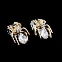 Wholesale 325 Spring Festival Fashion Jewelry Charming K Gold Plated Alloy White Austrian Crystal Spider Stud Earrings for Women