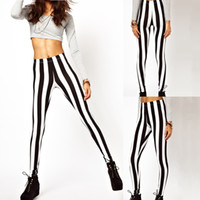 Wholesale Fashion Women Black And White Spandex Zebra Print Vertical Stripe Pants Summer Sexy Leggings For Girls G0235
