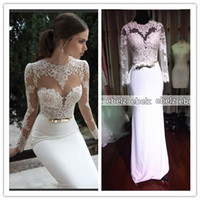 Reference Images Scoop Chiffon Real Pictures New 2014 New Arrival Sexy Long Sleeves Sheer Lace Mermaid Prom Dresses Satin Evening Dress Prom Dress