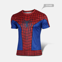 Wholesale New style Spiderman cycling jersey round neck short sleeve T shirt Anti UV breathable quick dry