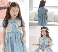 Wholesale GXR Children Clothing Summer Girl Dress Doll Neck Dot Lace Children Princess Dress Kids Denim Colour Dresses GX178