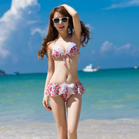 Women Bikinis Floral Sexy Floral Bikini Swimming Suit T-back Halter Bikini Swimwear & Swimsuit Beach Bikini Dress Split Beachwear Swimsuit Women Set S M L