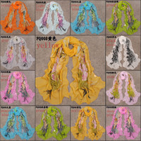 Wholesale Chiffon georgette scarves new long pashmina scarf women foulard imitated silk fabric scarves beach towel super slippery FQ008
