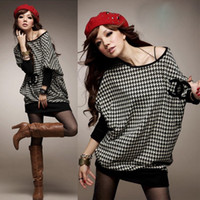 Wholesale 2014 Fashion Women Ladies Casual Houndstooth Long Batwing Sleeve Pullover Crew Neck Tops T Shirt Office T Shirt G0370