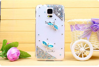 bling cell phone case - White Blue Bling Diamond Rhinestone Dragonfly Clear PC Back Cell Phone Case for Samsung Galaxy S5 T