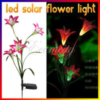Solar yard decorations for christmas - Solar Power Leds Lily Flower Light Color Changing Outdoor Garden Path Yard Lawn Landscape Lamp For Decoration Christmas Festive