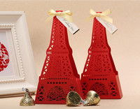 Favor Boxes White Paper Elegant Red and Golden Eiffel Tower Shaped Embossed Candy Gifts Chocolate Favor Boxes With Bow for Wedding Party creative candy box