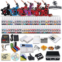 Wholesale USA Dispatch Complete Tattoo Kits Guns Machines Ink Sets Equipment Needle Power Supply disposable grips needles pedal clip cord D187DH