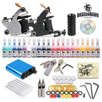 USA Professional tattoo kits  USA Dispatch Professional complete cheap tattoo kits 2 guns machines 20 ink sets equipment needles grips power free shipping K-6DH