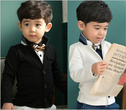 Wholesale Hot Korea Children Boys Long Sleeve Gentlemen Outwear Kids Clothing Turn down Collar With Pocket Casual Jackets Childs All match Tops H0428