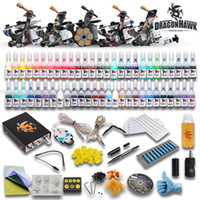 Wholesale USA Storage Complete Gun machines Tattoo Kit Inks sets Power Supply disposable Needle Grips tips D179DH