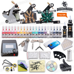Wholesale Complete Tattoo Kits Tattoo Gun Machines Tattoo Inks Sets Tattoo Needles Free Bottles Black Inks Tattoo Power Supply DHL