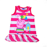TuTu Summer Pleated 7 sets lot 2014 New Arrival Baby Girls Summer Dress Peppa Pig Cartoon Striped Sleeveless Dresses Children Fashion Clothes